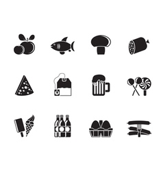 Silhouette food and shop icons vector image