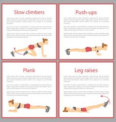 Slow climbers and push ups set vector