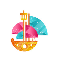 small sailing ship with blue and pink sails flat vector image