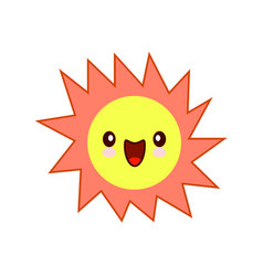 smiling yellow simple sun cartoon mascot character vector image