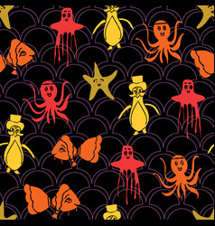 Spooky aquatic seamless pattern background vector