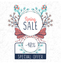 spring sale special offer floral decoration vector image