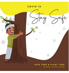 Stay safe from covid 19 banner design vector