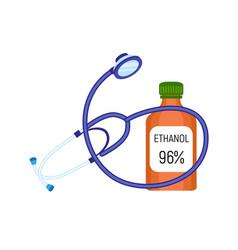 Stethoscope ethanol bottle icon flat style vector