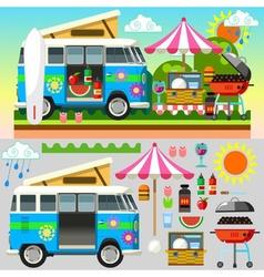 Summer Picnic 3D Flat Set 02 vector image