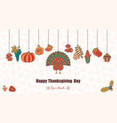 thanksgiving day greeting card various elements vector image