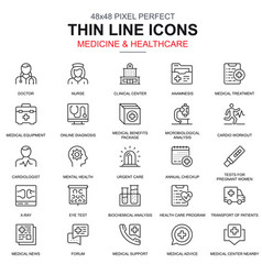 thin line healthcare and medicine icons set vector image