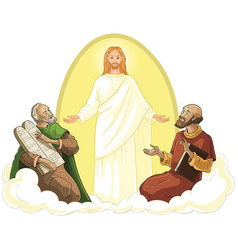 transfiguration of jesus isolated on white vector image vector image
