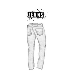 Vintage mens jeans in back views isolated on vector