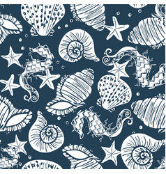 White and navy seashell seamless pattern print vector