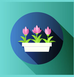 with flower pot in flat style vector image