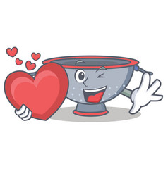 With heart colander utensil character cartoon vector