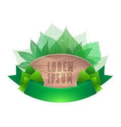 wooden board with green ribbons and leaves vector image
