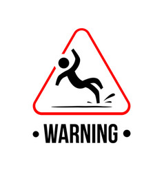 Yellow triangle caution slippery floor logo sign vector