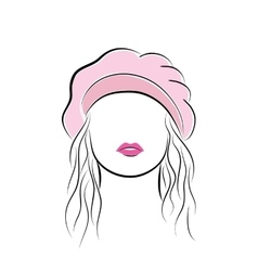 Beautiful young woman with her hair in a pink vector image
