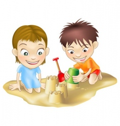 children in the sand vector image