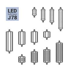 led light j78 bulbs outline icon set vector image vector image