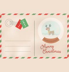 merry christmas retro snow globe holiday postcard vector image