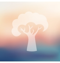 Tree icon on blurred background vector