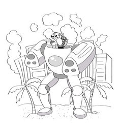 Black and White Cartoon of Happy Robot or Droid vector image vector image