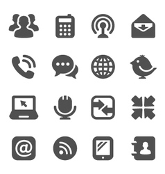 Black communication icons vector