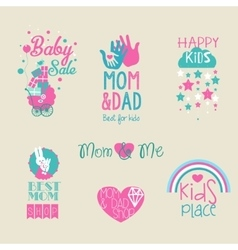 collection of cute baby and kid logo vector image vector image