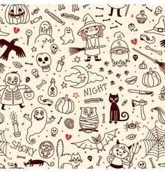 Halloween seamless pattern Pumpkin Ghosts Cats vector image
