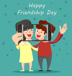 happy friendship day greeting card friends vector image vector image