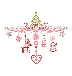 Merry Christmas decoration with reindeer vector image