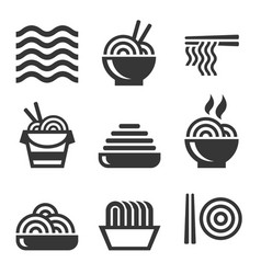 noodle icons asian food bar logos set vector image