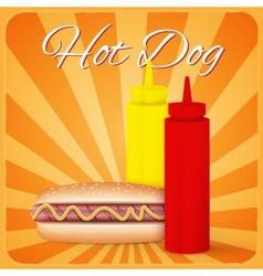 Vintage hotdog poster design vector image vector image