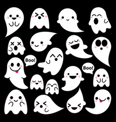 cute ghosts icons on black halloween vector image vector image