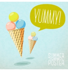Cute summer poster - cones with yummy ice-cream vector image vector image