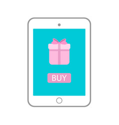 tablet with gift on monitor icon tab vector image vector image