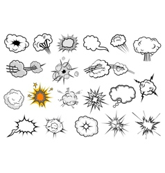 Cartoon comic explosion and speech elements vector image