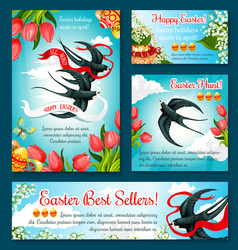 easter egg hunt banner template of flower and bird vector image vector image