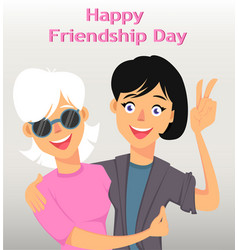 friends hugging and smiling two female cartoon vector image