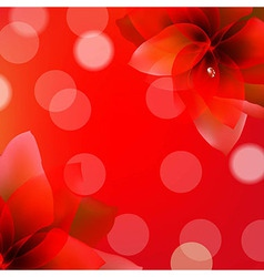 Red Poster With Flowers vector image vector image