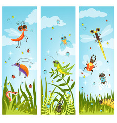 vertical web banners with of cartoon vector image
