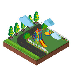 3d design for playground and road scene vector image vector image
