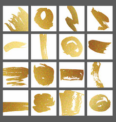 A set of cards with gold brush strokes for the vector