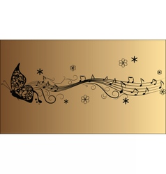 Abstract melody Music notes and butterfly vector image