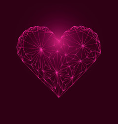 abstract polygonal heart from points and lines vector image
