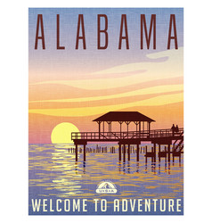 alabama travel poster vector image