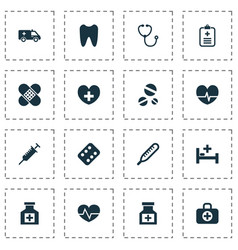 Antibiotic icons set collection mercury drug vector