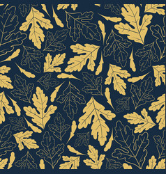 autumn seamless pattern with golden leaves vector image