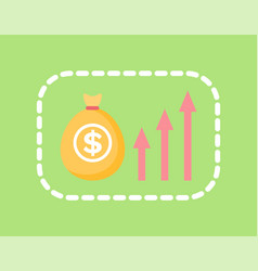 bag money with dollar print and arrows vector image