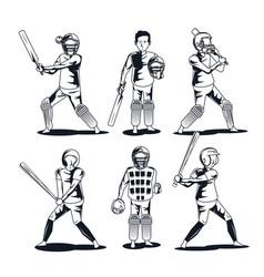 baseball and cricket player vector image