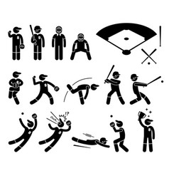 Baseball player actions poses stick figure vector
