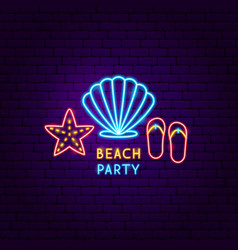 beach party neon label vector image